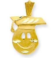14K Gold Graduation Smiley Face Charm