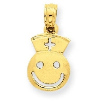 14K Smiley Face With Nurse Hat Pendant