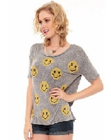 Allover Print Smiley Face Heather Tee