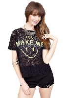 Black Lace Smiley Face Sheer Pullover
