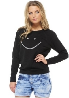 Women's Black Smiley Face Sweat Top