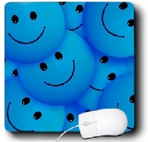 Blue smiley faces Mouse Pad