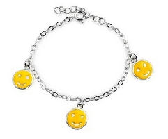 Childrens Yellow Smiley Face Bracelet
