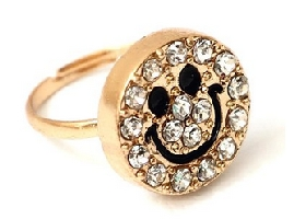 Crystal Smiley Ring Fashion Jewelry