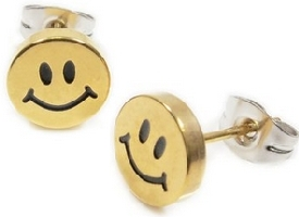 Gold Color Smiley Face Earrings
