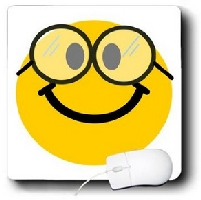 Happy Nerd Smilie with Glasses Mousepad