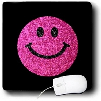 Hot Pink Girly Smiley Face Mouse Pad