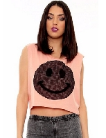 Netted Smile Face Muscle Tee