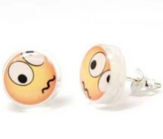 Puzzled Face Emoticon Stud Earrings