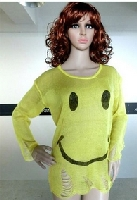 Round Neckline Smiley Face Sweater