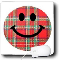 Scottish Plaid Smiley Face Mouse Pad