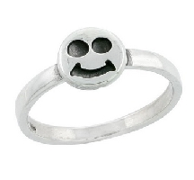 Silver 1/8 inch Smiley Face Ring