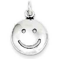 Silver Antiqued Smiley Face Charm