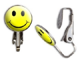 Smiley Face Clip-On Stud Earrings