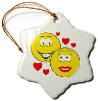 Smiley Face Couple Love Ornaments