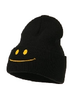 Smiley Face Embroidered Knit Beanie