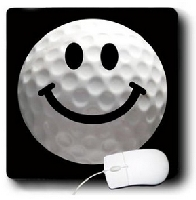 Smiley Face Golf Ball Mouse Pad