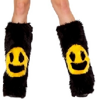 Smiley Face Legwarmers Black