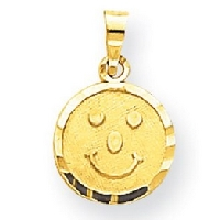 Smiley Face Pendant in 10kt Yellow Gold