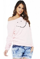 Women's Smiley Face Sweat Pink Top
