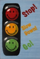 Smiley Face Traffic Signal Area Rug