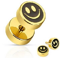 Smiley Face with Black Inlay Earring