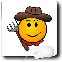 Smiley Face With Western Hat Mouse Pad