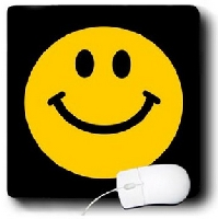 Smiling on Black Pattern Mouse Pad