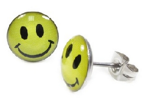 Stainless Steel Round Smiley Face Earrings