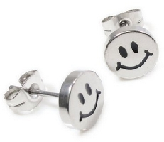 Stainless Steel Silver Smiley Face Earrings