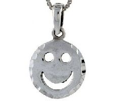 Sterling Silver Happy Face Pendant