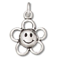 Sterling Silver Smiley Face Flower Pendant