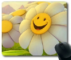 Sunflower Smiley Face Mouse Pad