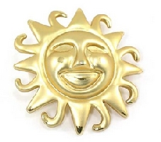 Women's Gold Color Smiley Sun Brooch