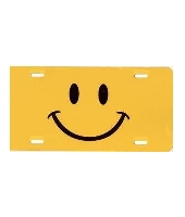 Yellow Smiley Face License Plate